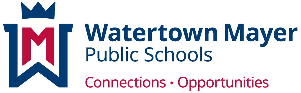 watertown mayer schools logo, crown, connection and opportunities